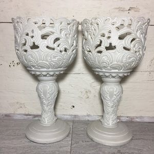 HomeGoods  Pair Of Resin Candle Holders